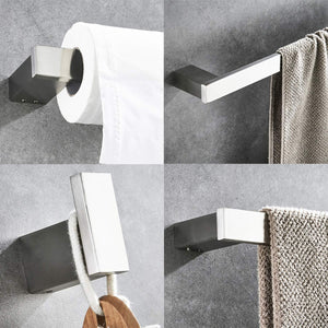 HomeElegance Bathroom Hardware Set 4 Piece Wall Mounted Shelves Stainless Steel Towel Bars Toilet Paper Holder Robe Hook Bathroom Fixture Set