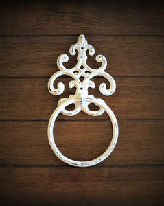 Shabby Chic Towel Ring/Antique White or Pick Your Color Towel Hanger/Heavy Cast Iron Towel Hook/Shabby Chic Bathroom/ Fleur de Lis Design