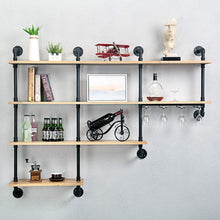 Discover the mbqq 4 tiers 63inch industrial pipe shelving rustic wooden metal floating shelves home decor shelves wall mount with wine rack decorative accent wall book shelf for kitchen or office organizer black