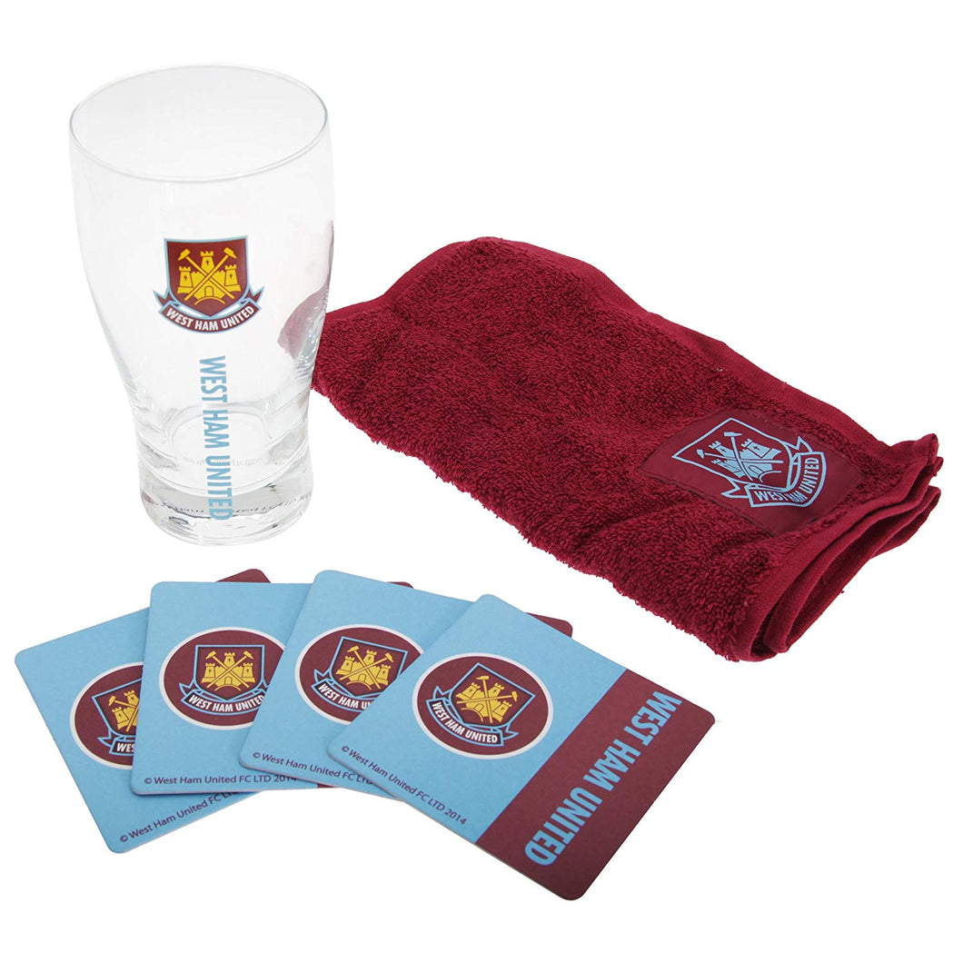 West Ham FC Official Mini Football Bar Set (Pint Glass, Towel & Beer Mats) (One Size) (Claret/Blue/Clear)