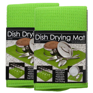 S&T Microfiber Dish Drying Mat, 16 by 18-Inch, Lime Green - 2 Pack