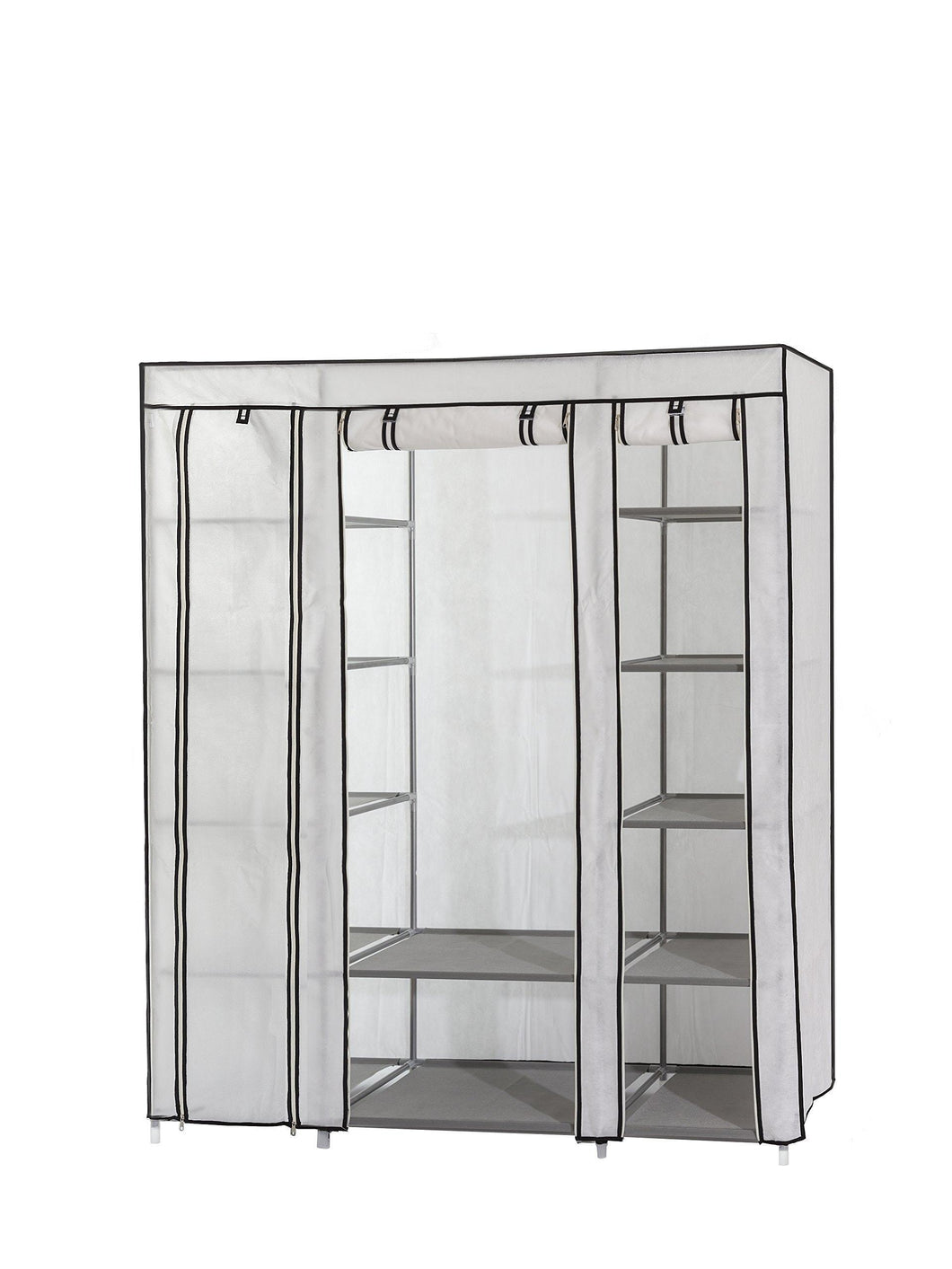 On amazon dream palace portable fabric wardrobe with shelves covered closet rack with bonus sock organizer hanger pack extra wide 59 white