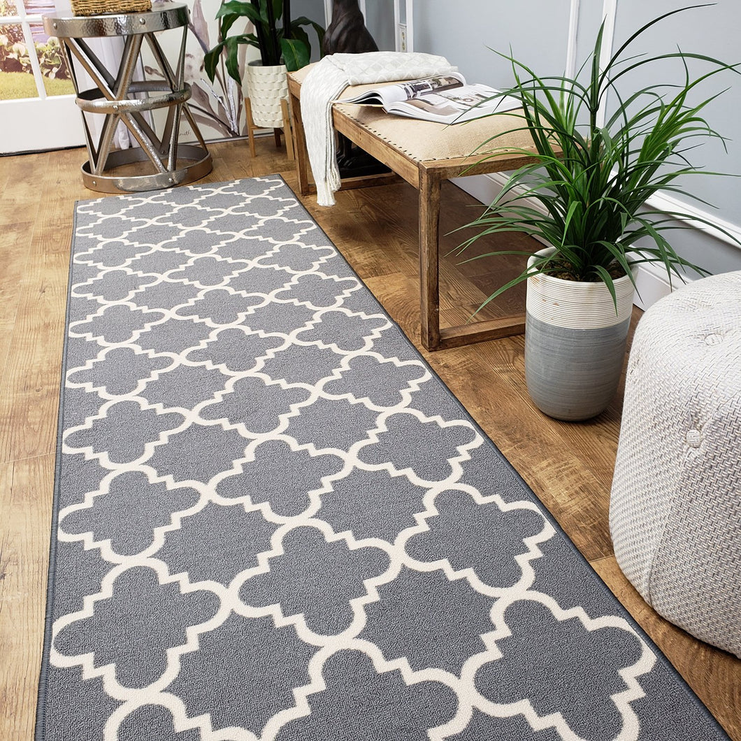 Runner Rug 3x10 Hallway Gray Trellis Kitchen Rugs and mats | Rubber Backed Non Skid Rug Living Room Bathroom Nursery Home Decor Under Door Entryway Floor Non Slip Washable | Made in Europe