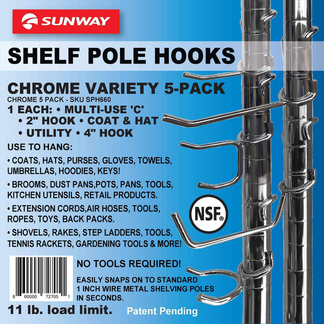 Top rated sunway shelf pole hooks 5 pack chrome variety pack best solution for garage shelving storage organization use with metal or wire shelves and racks heavy duty easy installation