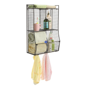 Get wall mounted collapsible black metal wire mesh storage basket shelf organizer rack w 2 hanging hooks