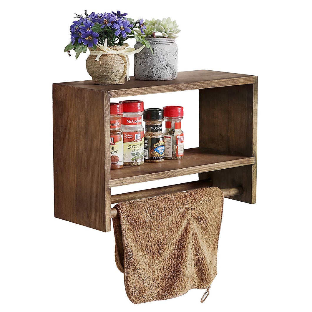 Rustic Wall Mounted Wood Spice Storage Rack, Kitchen Floating Shelf with Double Towel Bars