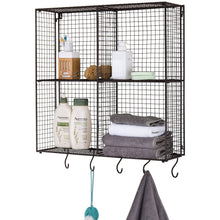 Kitchen mygift wall mounted brown metal wire 4 compartment storage rack with 5 s hooks