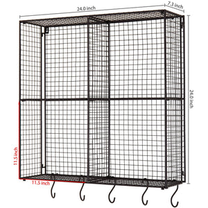 New mygift wall mounted brown metal wire 4 compartment storage rack with 5 s hooks