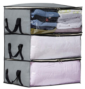 SLEEPING LAMB Storage Bag Organizers, Clothing Storage Containers for Clothes, Sweater, Blanket, Pillows, Bedding in Bedroom, Closet, 3 Piece Set(Grey)