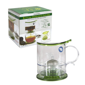 The Fine Life Coffee Brewer and Loose Leaf Teapot Infuser - Replace Your French Press - 16 oz. - Includes Acrylic Spoon, Acrylic Extender Ring, and Additional Filter