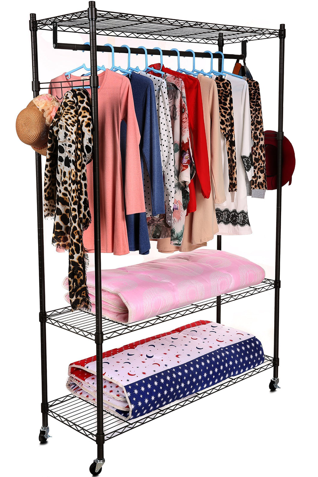 Related homdox 3 tiers large size heavy duty wire shelving garment rolling rack clothing rack with double clothes rods and lockable wheels 1 pair side hooks black