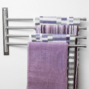 New swivel towel rack stainless steel swing out towel bar space saving swinging towel bar for bathroom wall mounted towel holder organizer with 4 arms easy to install brushed finish 17x10