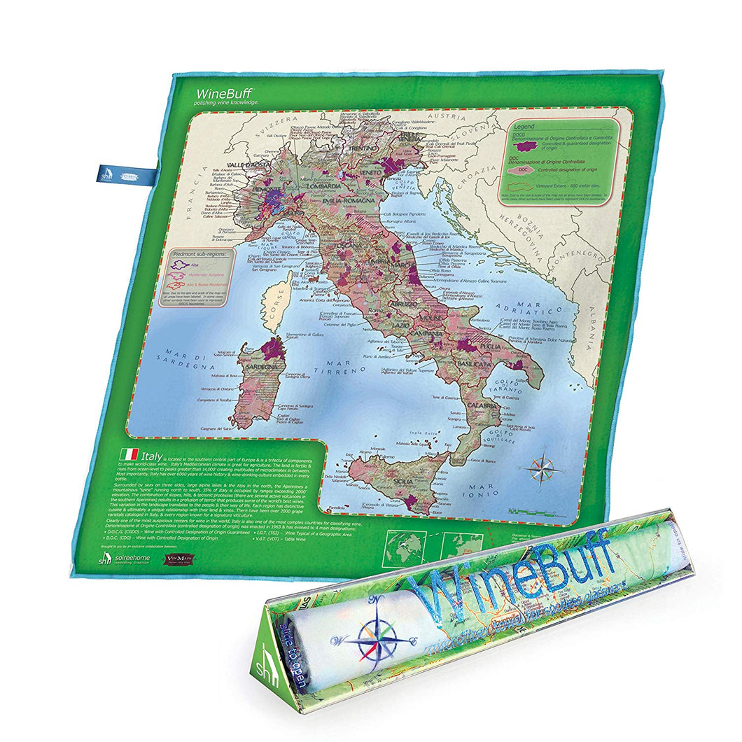 soireehome Winebuff – Italy Edition – Large Micro Fiber Polishing Towel for Crystal-Clear, Streak-Free, Polished Wine Glasses – 20 x 20 Inch Wine Educational Notes and Detailed Regional Wine Maps