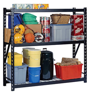 Products muscle rack erz772472wl3 black heavy duty steel welded storage rack 3 shelves 1 000 lb capacity per shelf 72 height x 77 width x 24 depth