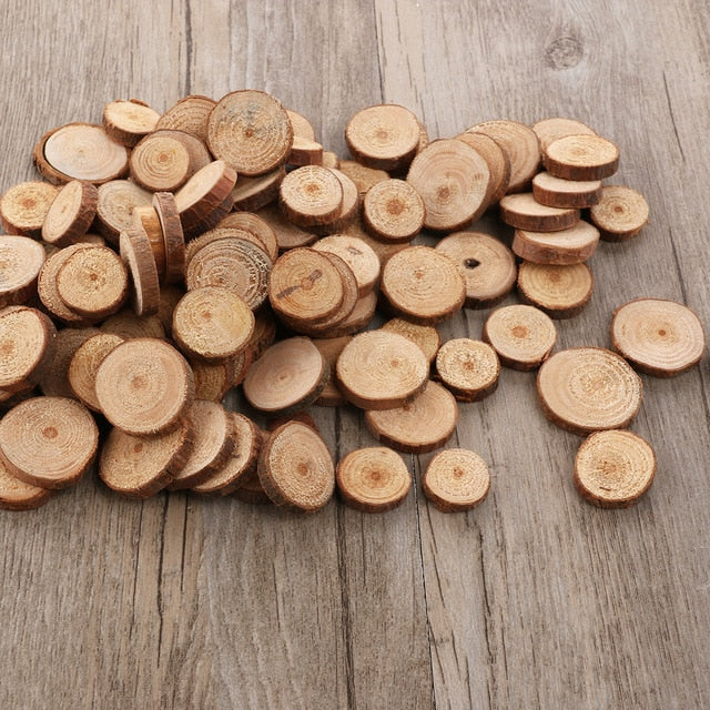 100pcs 1.5-3CM Wood Crafts Log Slices Discs Cutout Circle Round Large Paint Decor Wooden For Wedding DIY Decoration