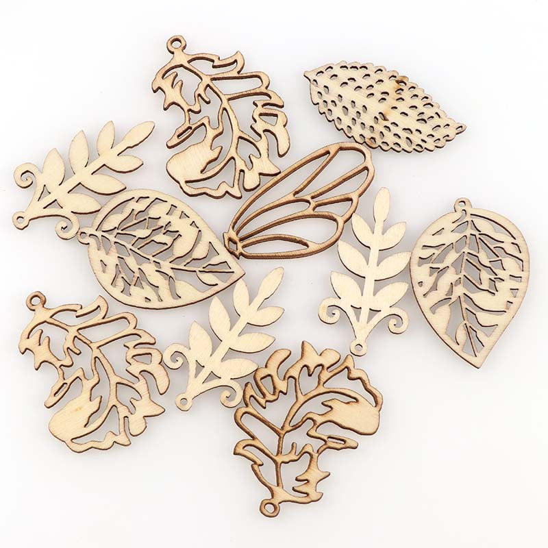 10Pcs DIY Wooden mixed leaf wood chips pendant  Embellishments Crafts Scrapbooking Supplies Hand-made Graffiti Buttons