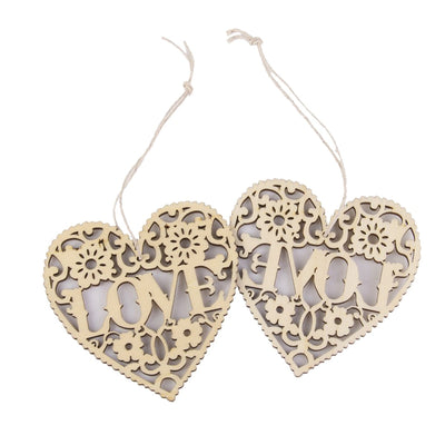 10pcs LOVE Heart Wooden Embellishments Crafts Hanging Ornament (Wood Color)