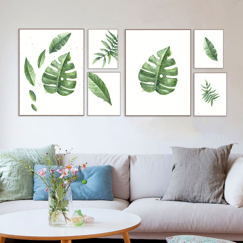 Green Leaf Nordic Canvas Painting Wall Art Home Decor Plant Branch Flo Laser Artisans