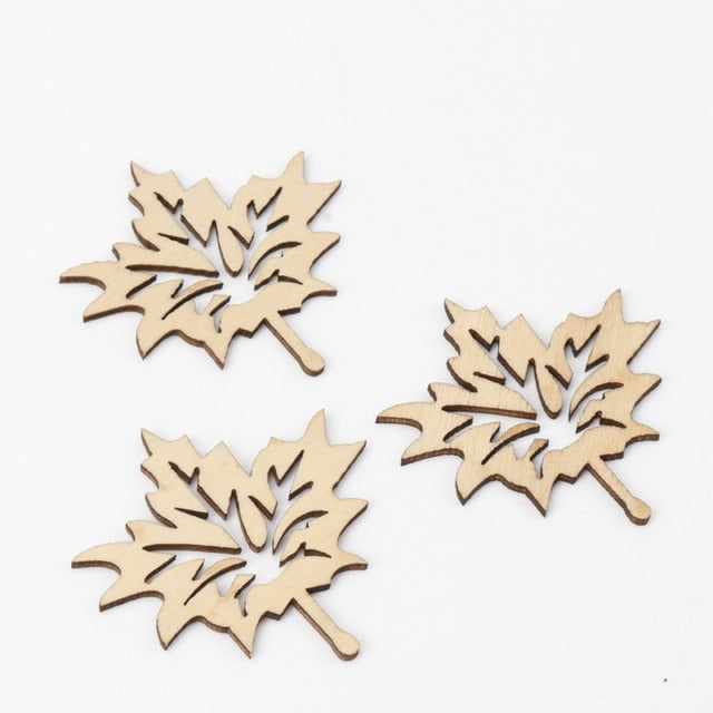 Mixed Leaves Pattern Wooden Scrapbooking Art Collection Craft for Handmade Accessory Sewing Home Decoration 20-40mm 20pcs