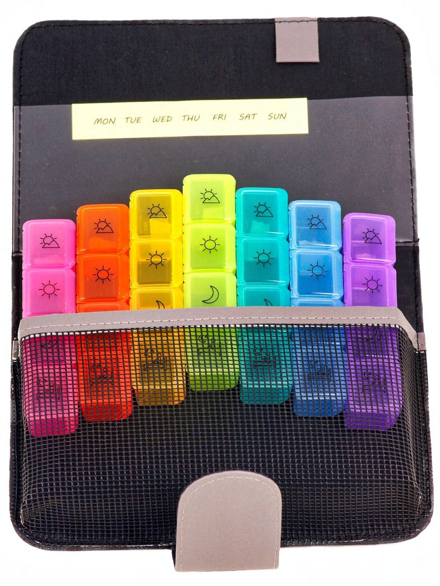 Weekly Pill Organizer 4 Times a Day with Cute Case | Black