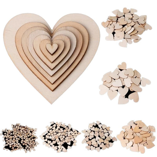 7 size Wooden Heart Shapes Laser Cut Blank Craft Embellishments Wedding Xmas Decor 10/25/50/100/200pcs