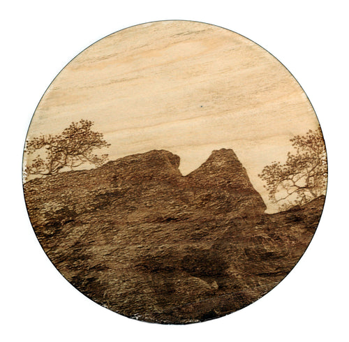 Laser Engraved and Cut Large Wood Coaster Rock Landscape Dia 20cm
