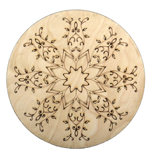 Laser Engraved and Cut Large Wood Coaster Dia 20 cm