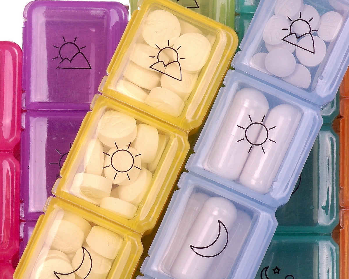 Weekly Pill Organizer 4 Times a Day with Cute | Blue