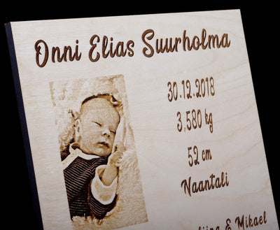 Personalized Birth Announcement Wood Engraved Picture With Baby Name, Stats, Birth Information - 8x10 Inches Horizontal