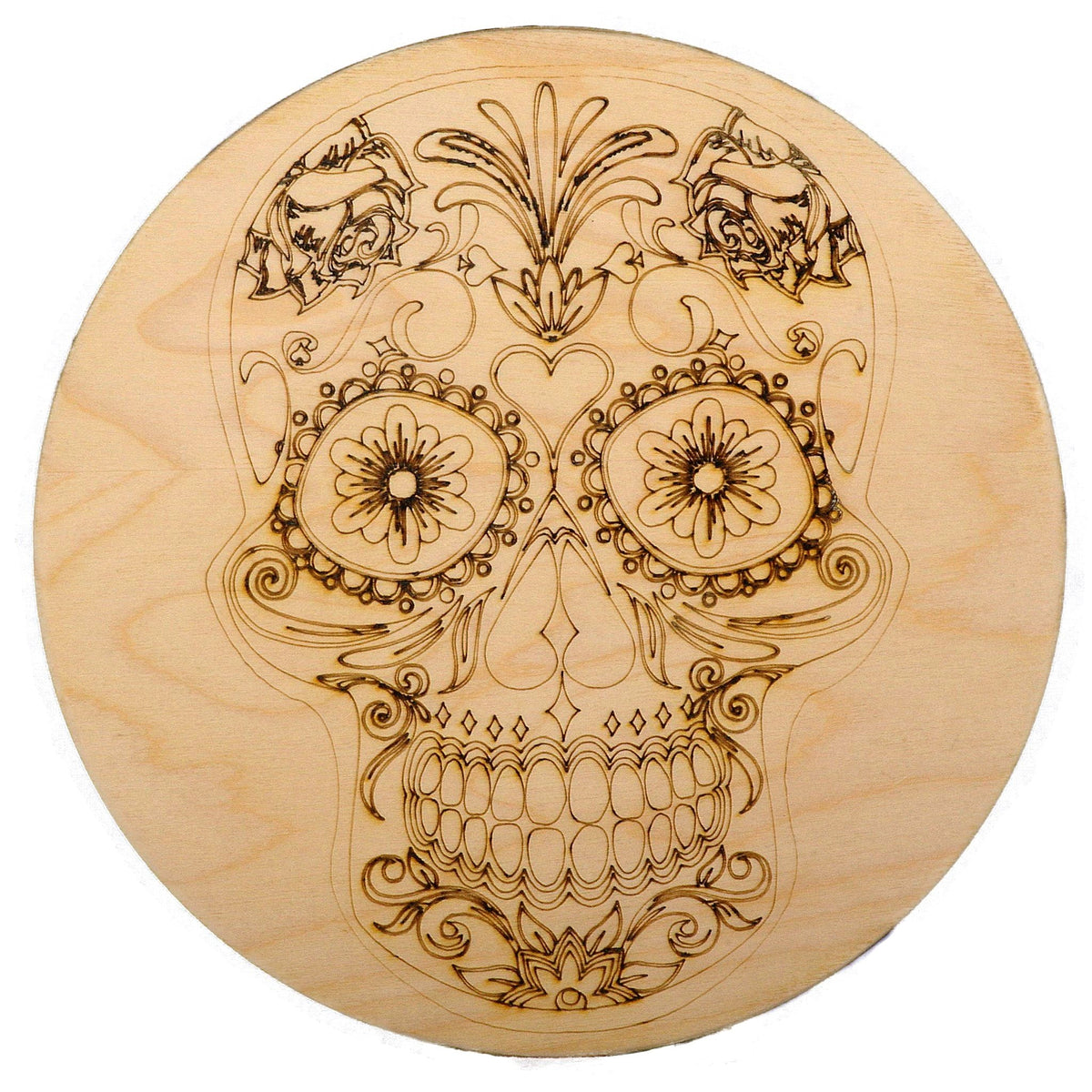 Laser Engraved and Cut Large Wood Coaster  Skull  Dia 20cm