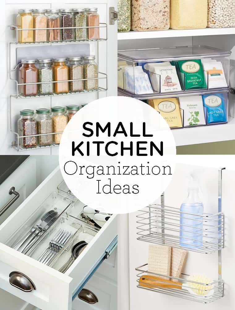 Here are 12 easy Small Kitchen Organization Ideas! These simple tips will keep your cabinets, drawers and countertops organized, tidy and super functional