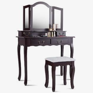 Classic Black Makeup Vanity With Lights