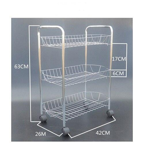 2017 Storage Shelf Kitchen Prateleira Vegetable Rack Three layers multifunction Fruit Shelf Bathroom The movable trolleys racks