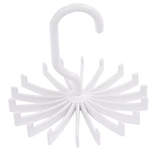 2pcs Rotating Belt Scarf Rack Tie Hanger Holder 18 Hooks for Closet Organizer Storage (White)