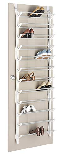 Whitmor Over The Door Rack-36 Fold Up Non Slip Bars Shoe Rack, 36-Pair, White (Renewed)