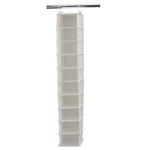 Household Essentials 311328 Hanging Shoe Storage Organizer for Closets |10 Wide Pocket Shelves | Natural Canvas