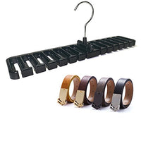 Yadebao Black Belt Rack Organizer Hanger Holder for Men Closet Belt Storage Organizer
