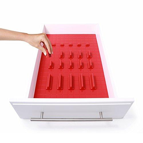 KMN Home DrawerDecor Customizable Organizer, Drawer and Shelf Cabinet Liners, Non-Slip and Easy Clean, Deluxe Starter Kit, 21 Piece - Red