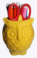 "Thanksgiving Christmas Day Best Gift - abhandicrafts - 5"" Ceramic Pen Pencil Holder Stationary Organizer Cooking Utensil Holder for Home Office Artificial Planter by abhandicrafts (Owl Shaped Yellow)"