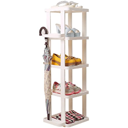 White Narrow Shoe Storage Rack Vertical Shelf Organiser Holder For Entryway Door Hall Bathroom 5 Tier