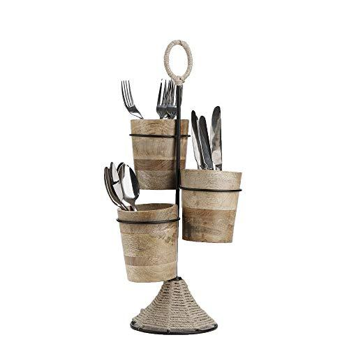 Mind Reader UTENROPE3-BRN Utensil Caddy, Flatware Organizer, Serve ware Holder, Silverware, Cookware, Forks, Spoons, Knives-Brown, One Size