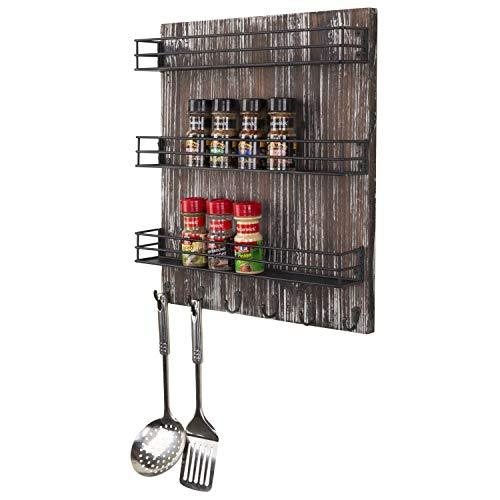 MyGift Wall-Mounted Torched Wood 3-Tier Spice Rack with 5 Hooks