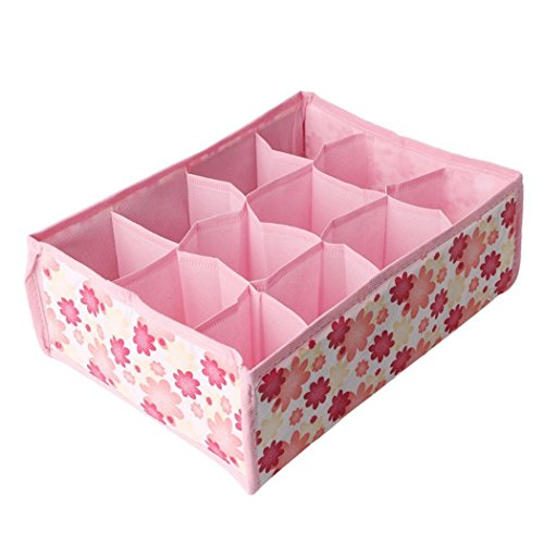XWDA Underwear Organizer Bras Storage Box, 12 Grid Storage Box Drawer Closet Home Organizer for Apparel Garments Socks Ties Scarves