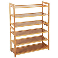 Weelongha 6 Tier Wood Bamboo Shelf Entryway Storage Shoe Rack Home Furniture Organizer Bench Holder Seat Natural Hallway Home
