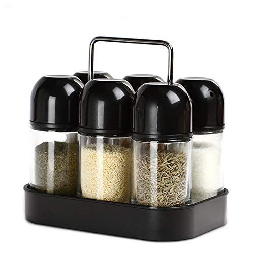 Spice Jars Set Organizer Spice Rack with Revolving Countertop Holder - Set of 6 Containers MATCHANT