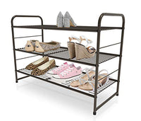 CAXXA 3-Tier Stackable and Expandable Meta Wire Utility Rack Storage for Shoe Household Accessory Organizer Shelf in Entryway Closet Bedroom Kitchen Garage, Bronze