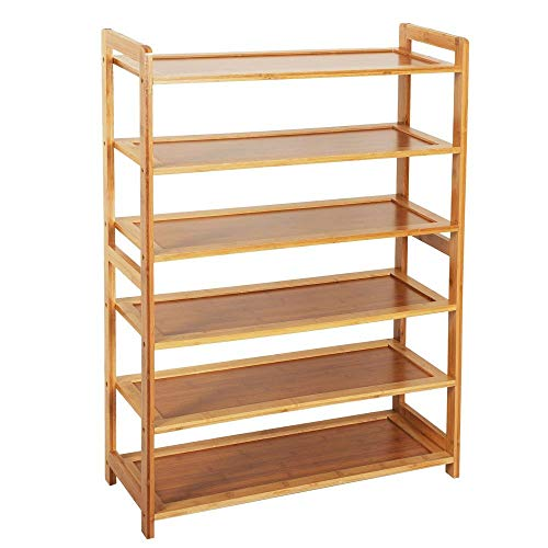 ZotoyaShop Organizer Holder Shoe Bamboo Wood Tier 6 Rack Shelf Entryway Storage Home Furniture Natural