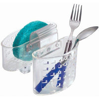 "iDesign Plastic Kitchen Sink Saddle Protector Caddy, Flatware, Silverware, Utensils Organizer and Sponge Holder, 6"" x 6.5"" x 5.5"" - Clear"