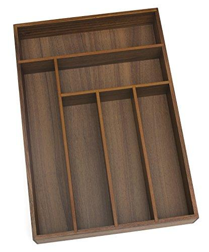 "Lipper International 1078 Acacia Wood Deep Flatware Organizer with 6 Compartments, 11-3/4"" x 17-1/2"" x 2-1/2"""