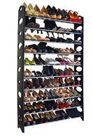 Wegi King Shoe Rack,10-Tier 50-Pair-of-Shoes Adjustable Steel & Plastic Shoe Rack Black & Silver